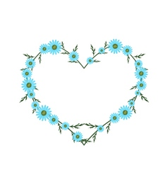 Beautiful Light Blue Daisy Flowers in Heart Shape vector