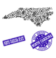 Best service collage of map of north carolina vector