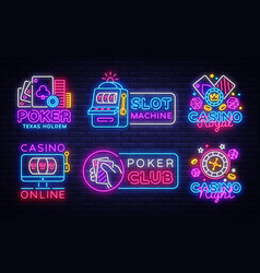 big colletion neon sign casino logos and emblems vector image