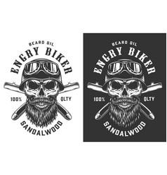 biker skull in helmet and goggles emblem vector image