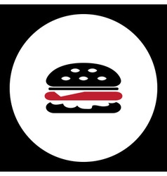 black and red simple hamburger isolated icon eps10 vector image