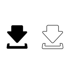 black download icon in flat and line design vector image