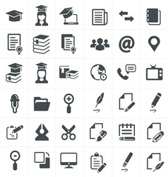 black education icons set on gray vector image