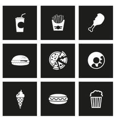 black fast food icon set vector image