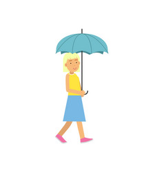 blonde girl walking under light blue umbrella vector image