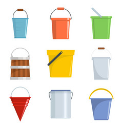 bucket types container icons set isolated vector image