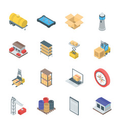 Bundle of logistics icons vector