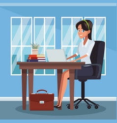 Businesswoman at office vector