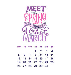 calendar for march 2 0 1 8 hand drawn vector image