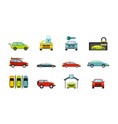 cars icon set flat style vector image