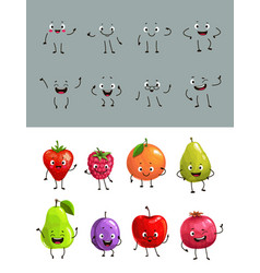 Cartoon fruits and berries with funny faces vector