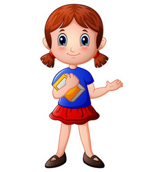 cartoon girl holding a book vector image