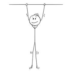 Cartoon smiling man hanging high vector