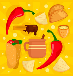 chilli mexican food concept background flat style vector image