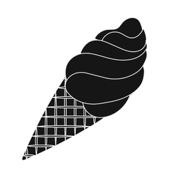 Chocolate ice-cream icon in black style isolated vector