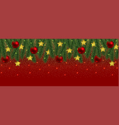 christmas and new year web banner with glitter and vector image