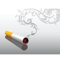 Cigarrette with decorative smoke vector