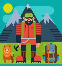climber with dog vector image