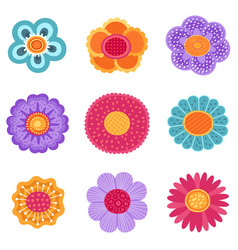 collection of spring flower icons in vector image