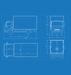 Delivery truck schematic or van car blueprint vector