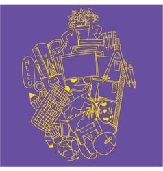 Doodle art education on purple backgrounds vector
