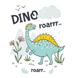 Doodle dinosaur poster cute cartoon animal vector