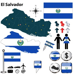El Salvador map vector image