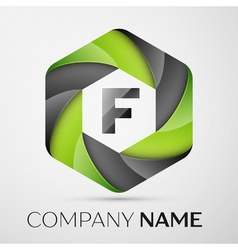 F letter colorful logo in the hexagonal on grey vector
