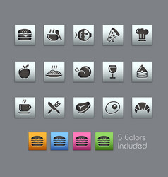 food icons - set 1 of 2 - satinbox series vector image