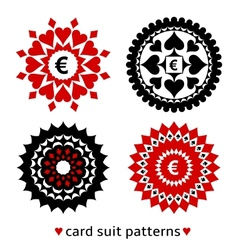 Four card suit round patterns vector image