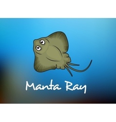 Funny cartoon stingray or manta vector