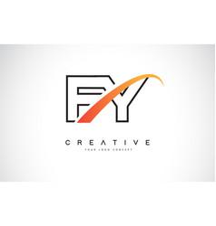 fy f y swoosh letter logo design with modern vector image