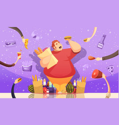 Gluttony leading to obesity poster vector