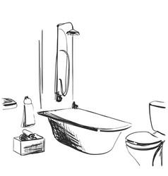 Hand drawn bathroom interior sketch home vector