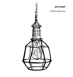 Hand drawn geometric loft lamps and iron lampshade vector