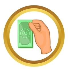 Hand holding dollar bills icon vector