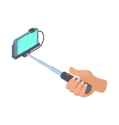 Hand holding selfie stick with phone icon vector image