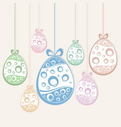 hanging easter eggs vector image vector image
