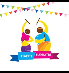 happy navratri festival garba dance poster design vector image