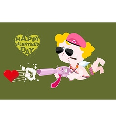 Happy Valentines day Army Valentine Military Cupid vector