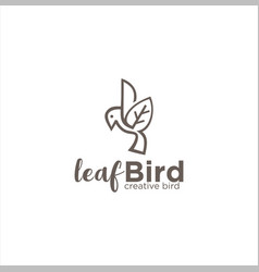leaf bird logo icon line art outline template vector image
