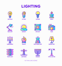 lighting thin line icons set vector image