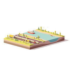 Low poly landscape with highway and river vector