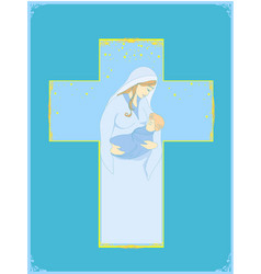 Madonna and child jesus - abstract religious card vector
