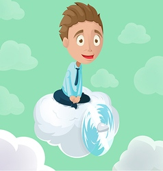 Man Riding Cloud Propeller Sky vector