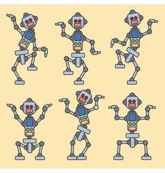 Mechanical robots train vector image