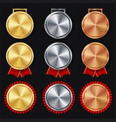 medals blank set realistic first second vector image