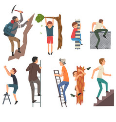 men overcoming obstacles set male characters vector image