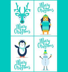 merry christmas banners set on vector image