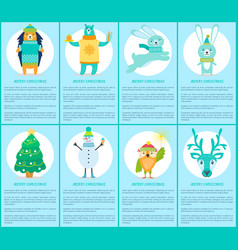 merry christmas set of posters with happy animals vector image